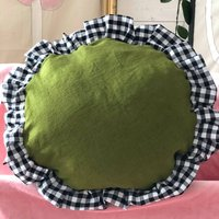 Green And Gingham Round Cushion