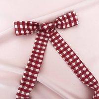Red Gingham Print Silk Tess Hair Ribbon