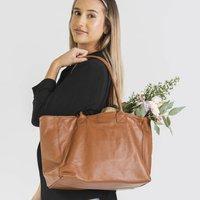 Caramel Soft Leather Lined Tote Handbag