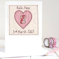 Personalised Initial Heart Card, Pink