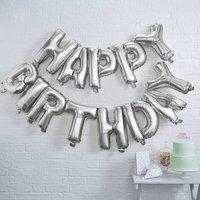 Silver Foiled Happy Birthday Balloon Bunting