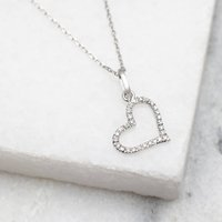 18ct White Gold And Diamond Set Open Heart Necklace, Gold