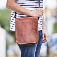 Leather Messenger Day Bag, Gold