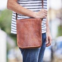 Leather Messenger Day Bag, Gold