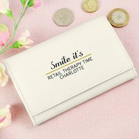 Personalised White Leather Wallet Purse