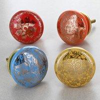Rainbow Gold Ceramic Door Knobs Cupboard Door Handles