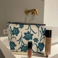 Jade Daffodil Cotton Linen Mix Makeup Bag