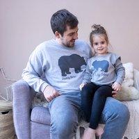 Personalised Daddy And Baby Bear Sweatshirt Set, Grey/White