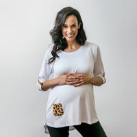 Animal Print And White Maternity And Nursing Top