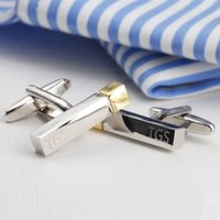 Personalised Polished Initial Bar Cufflinks