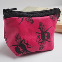 Small Coin Purse In Leather With Bumble Bee Print