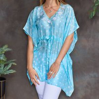Aquamarine Blue Luxury Silk Embroidered Kaftan Top