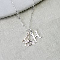 Sterling Silver Butterfly And Initial Necklace, Silver