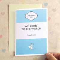 Personalised New Baby Girl Or Baby Boy Stripe Card, Orange/Lilac/Mint Green