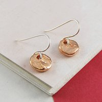 Rose Gold Round Textured Disk Drop Earrings, Gold