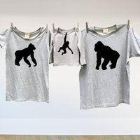 Monkey Tshirt Trio Twinning Tops For Dad Mum And Child