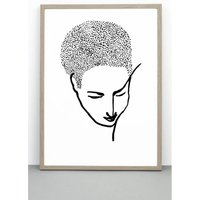 Print Portrait #One, Face Poster, Line Drawing Wall Art