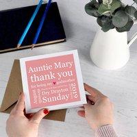 Godparent Details Thank You Card, Pink/Blue