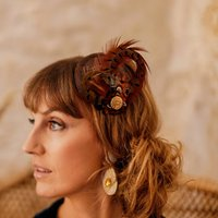 Pheasent Feather Fascinator, Brown/Navy/Gold