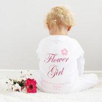 Personalised Flower Girl Baby Sleepsuit, White/Light Pink/Pink
