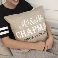 Luxurious Mr And Mrs Linen Wedding Cushion