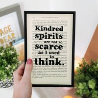 Anne Of Green Gables 'Kindred Spirits' Book Page Art