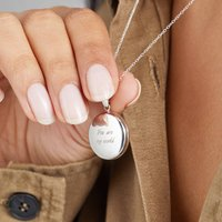 Solid Gold Or Silver Large Round Locket Necklace, Silver