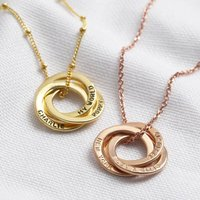 Personalised Gold Sterling Silver Russian Ring Necklace, Silver
