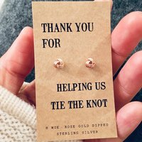 Rose Gold Bridesmaid Knot Earrings, Gold