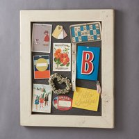 Old White Wood Framed Pinboard Noticeboard, Charcoal/Grey