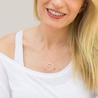 Mindfulness Silver Circle Affirmation Necklace, Silver