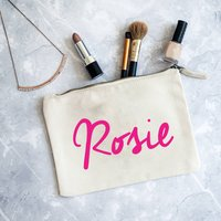 Personalised Name Make Up Bag, Gold/Silver Pink/Silver
