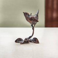Miniature Bronze Wren Sculpture 8th Anniversary Gift