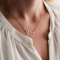 Sterling Silver Love Personalised Necklace, Silver