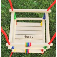 Babys First Personalised Wooden Swing