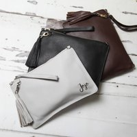Personalised Leather Clutch And Shoulder Bag