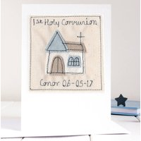 Personalised Boys First Holy Communion Card, Blue