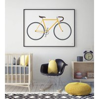 Racing Bike Print, Sky Blue/Blue/Yellow