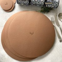 Six Festive Recycled Leather Table Mats