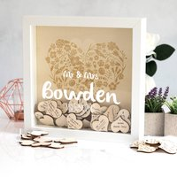 Personalised Wedding Guest Book Box Frame With Hearts