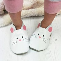 Leather Mouse Children's Slippers, Cream/White/Baby Pink
