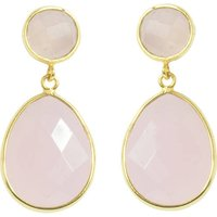 Rose Quartz Pink Earrings Gold Drop, Gold