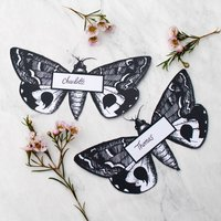 Personalised Moth Wedding Place Cards, Copper/Gold/Black