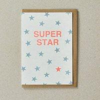 Super Star Blue Risograph Greeting Card