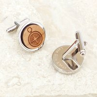 Personalised Wooden Compass Cufflinks