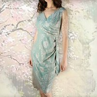 Suzanna Sash Dress In Platinum And Reef Lace