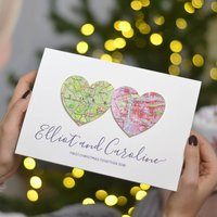 Personalised Map Hearts Christmas Card