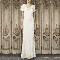 Ivory Draped Neck Gown