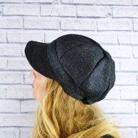 Charcoal Yorkshire Tweed Baker Boy Hat