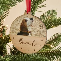 Personalised Wooden Photo Christmas Bauble Pets